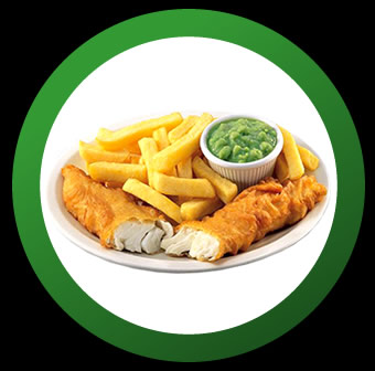 Fish N Chips with mushy peas.